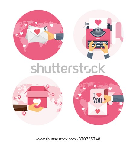 Vector illustration. Flat background with letter, hand, envelope, typewriter, carton box. Love, hearts. Valentines day. Be my valentine. 14 february.  - stock vector