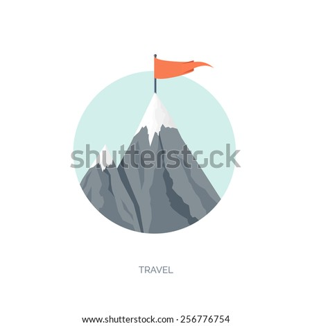 Vector illustration. Flat background with mountains. Achievement and aims. Explore and discover. Traveling. - stock vector