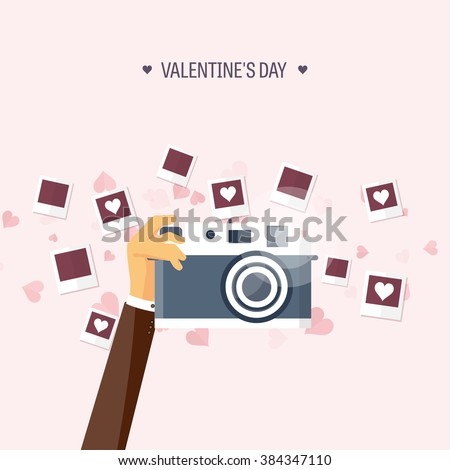 Vector illustration. Flat background with photos. Love, hearts. Valentines day. Be my valentine. 14 february.
