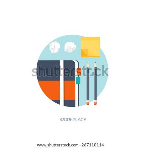 Vector illustration. Flat background. Workplace. Sticky notes, organizer and pencil. - stock vector