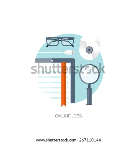 Vector illustration. Flat background. Workplace. Tablet. E-book. Loupe and compact disk. Usb cable. Job online. - stock vector