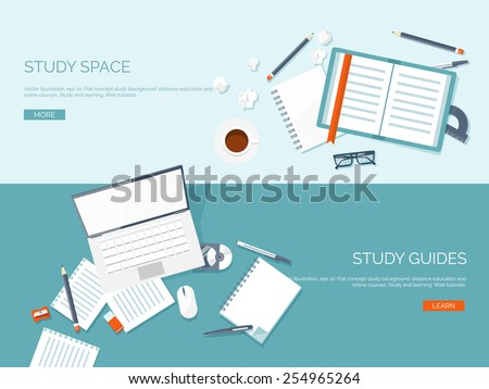 Vector illustration. Flat backgrounds set. Distance education and learning. Online courses and web school. Knowledge and information. Study process. E-learning. - stock vector