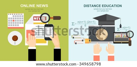 Vector illustration. Flat backgrounds set. Distance education and learning. Online news. Newsletter and information. Business and market news. Concepts web banner and printed materials. - stock vector