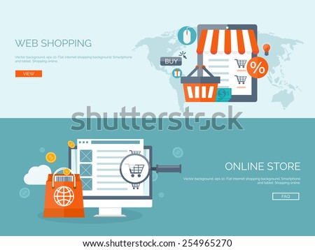 Vector illustration. Flat backgrounds set. Internet shopping. Web store. Global communication and trading. Web business. E-commerce and money making. Internet banking. - stock vector