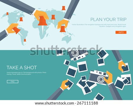 Vector illustration. Flat backgrounds set. Navigation and travelling.  Map pointer and location finding. Web application. Photoshooting. - stock vector