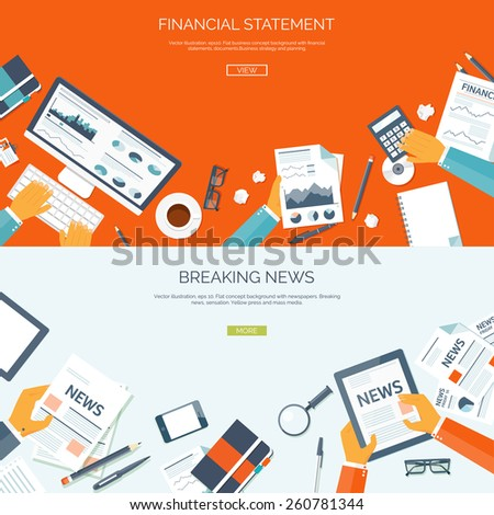Vector illustration. Flat backgrounds set. Online news. Newsletter and information. Business and market news. Financial report. - stock vector