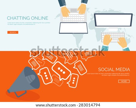 Vector illustration. Flat backgrounds set.  Social media, chatting. Global communication. Laptop, computer and loudspeaker. Emailing. Web chat and internet messages. Sms. - stock vector
