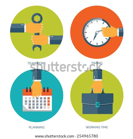 Vector illustration. Flat business background with date and time. Management and administrative planning. - stock vector