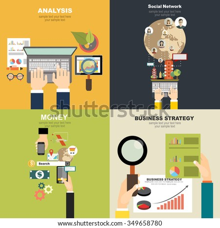 Vector illustration. Flat business, social network,time is money.Concepts for web banner and printed materials. - stock vector