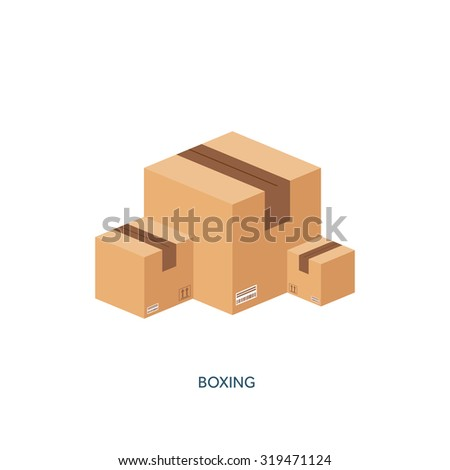 Vector illustration. Flat carton box. Transport and packaging, shipment. Post service and delivery. - stock vector