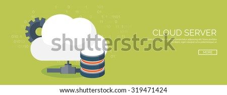 Vector illustration. Flat cloud computing background. Data storage network technology. Multimedia content and web sites hosting. Memory and information transfer. Security and protection. Cloud service - stock vector