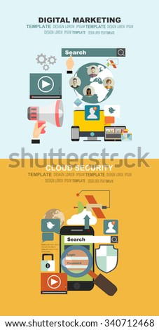 Vector illustration. Flat cloud computing background. Memory and information transfer. Security and protection. Cloud service.Set of flat design illustration concepts for video and digital marketing. - stock vector