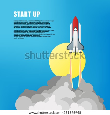 Vector illustration. Flat concept background with rocket. Project start up. Business aims and smart solutions. Teamwork. - stock vector