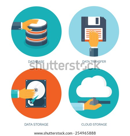 Vector illustration. Flat data storage. Cloud computing. Database. - stock vector