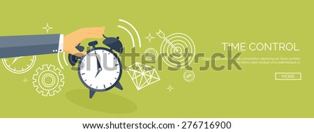 Vector illustration. Flat date and time background. Planning. Time management.Alarm. - stock vector