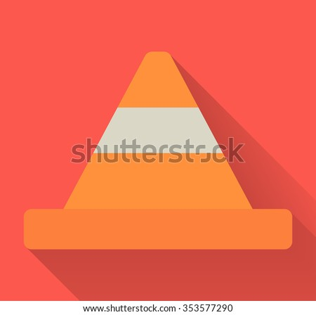 Vector illustration flat design of traffic cone - stock vector