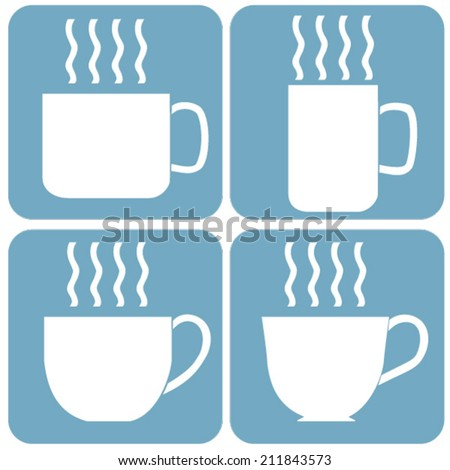 Vector Illustration Flat Design, Set of Coffee or Tea Drinks Cups Icons.