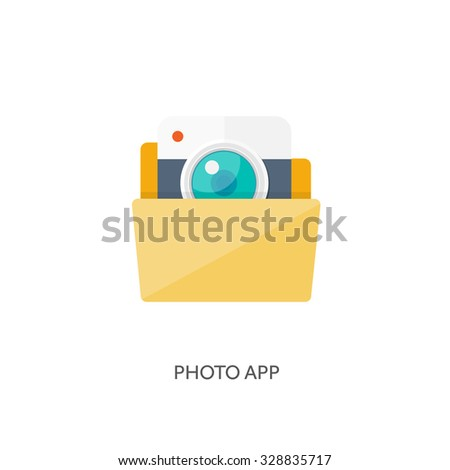Vector illustration. Flat folder. Document and information. Computing. Photo app.