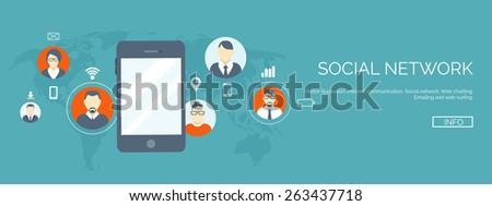 Vector illustration. Flat header.  Business communication and correspondence. Social network. - stock vector