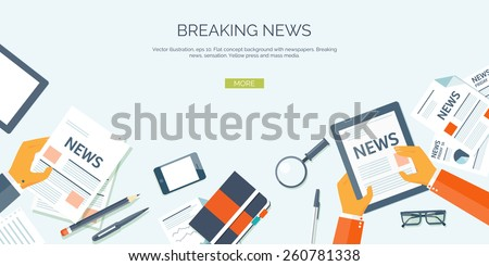 Vector illustration. Flat header. Online news. Newsletter and information. Business and market news. Financial report. - stock vector