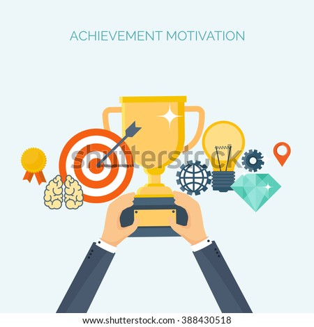 Vector illustration. Flat header.  Target, trophy. Management, achievements. Smart solutions, business aims. Generating ideas. Business planning, strategy - stock vector