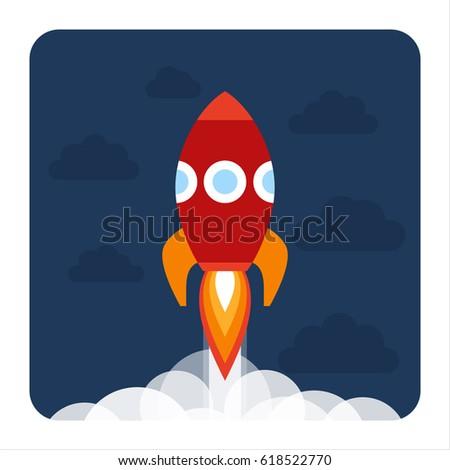 Red Rocket Icon Cartoon Rocket ...