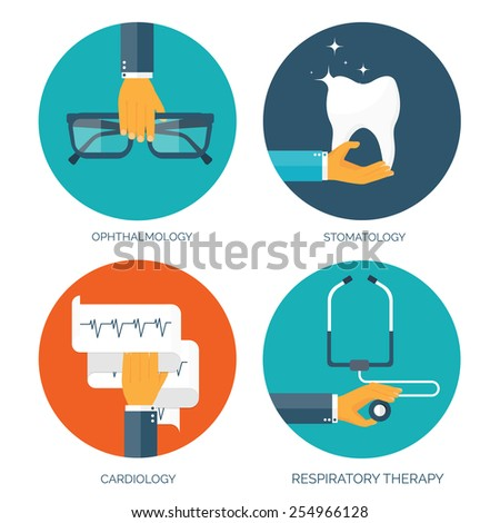 Vector illustration. Flat medical background. Cardiology and stomatology. First aid and diagnostic. Medical research and therapy. Global healthcare. - stock vector