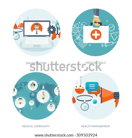 Vector illustration. Flat medical background. First aid, heart care. Online doctor. Health care and protection, Pharmacy. Clinical research. - stock vector