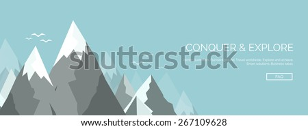 Vector illustration. Flat mountains. Mission and achievement. Nature and travel. Success and smart solutions concept background. - stock vector