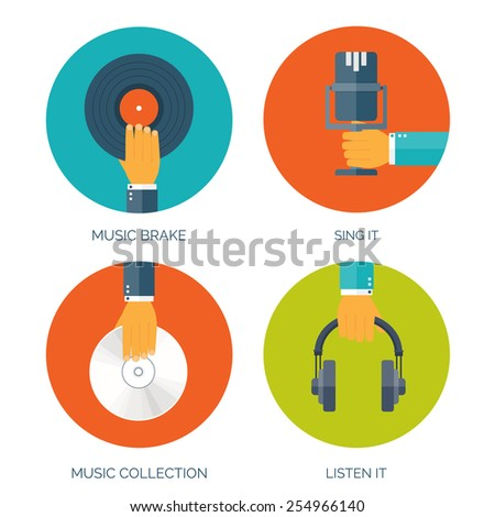 Vector illustration. Flat music background with hand. Voice recording.  - stock vector