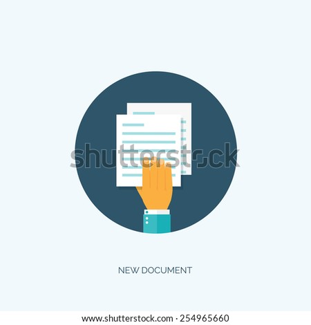 Vector illustration. Flat paper document. Emailing and global communication. Letter. Book and learning. Application, document. - stock vector