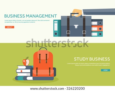 Vector illustration. Flat school backpack. Study, bag. Hand with portfolio and office folders. - stock vector