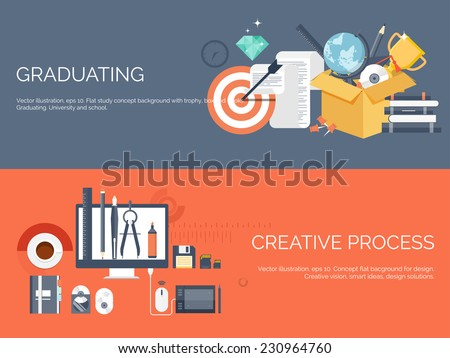 Vector illustration. Flat study backgrounds set. Education and online courses, web tutorials, e-learning. Study and creative process. Power of knowledge. Video tutorials. - stock vector