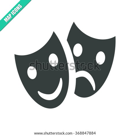 Vector illustration flat tragedy and comedy masks icon. Could be used as menu button, user interface element template, badge, sign, symbol, company logo - stock vector