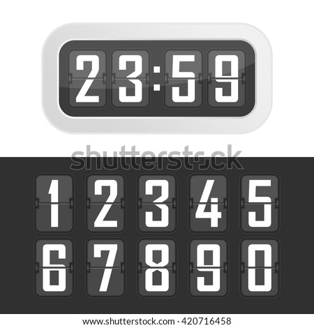 Vector illustration flip clock. Wall flipping clock and number counter template and all numbers with flips. - stock vector