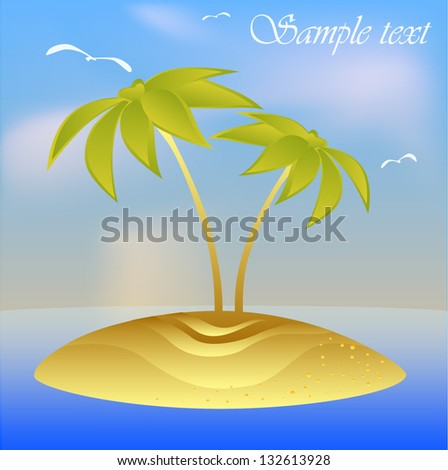 Vector illustration floating island. Vector palm tree