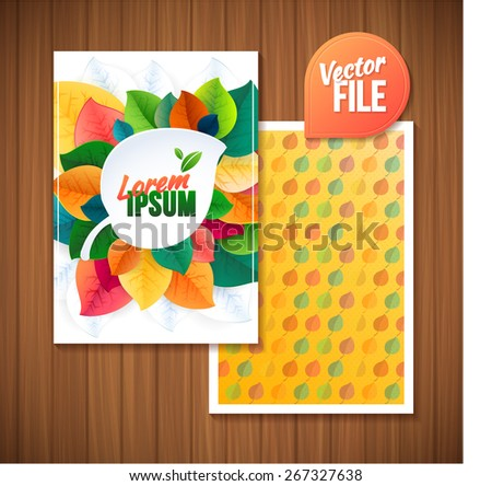 Vector illustration. Flyer template back and front design for ecology with leaves in bright color - stock vector