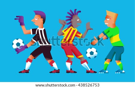 vector illustration football set element with players, ball in cartoon style