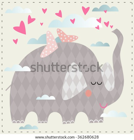 Vector illustration  for a children's postcards, t-shirts or sketchbooks  on Valentine's Day with the elephant, who is flying in the clouds.