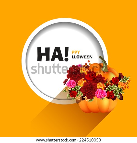 Vector illustration for a happy Halloween party. Pumpkin with autumn flowers. Use for brochures, printed materials, banner, greeting, card. - stock vector