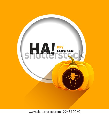Vector illustration for a happy Halloween party. Spider carved on a pumpkin for Halloween. Use for brochures, printed materials, banner, greeting, card. - stock vector