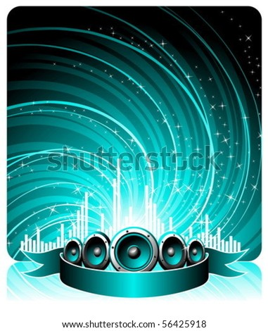 vector illustration for a musical theme with speakers and ribbon - stock vector