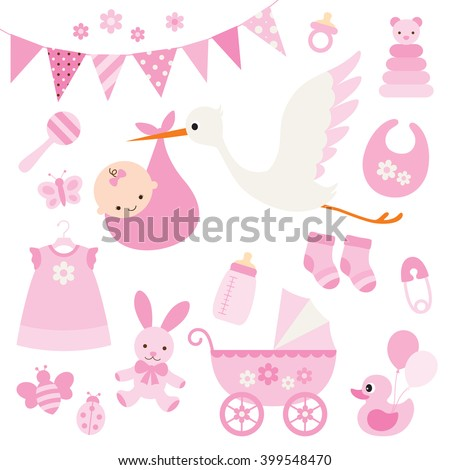 Vector illustration for baby girl shower and baby items. - stock vector