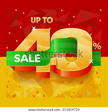 Vector illustration for banners about discounts, sales and promotions in the shops at a discount of 40% - stock vector