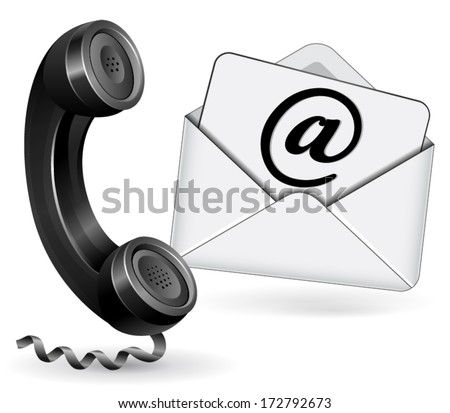 vector illustration for email and phone contact on white background