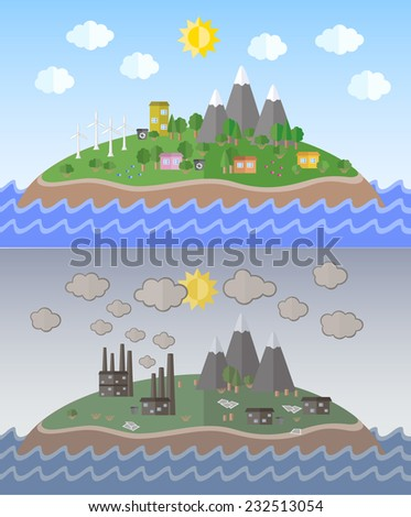 Vector illustration for environmental pollution designs. Ecology Concept. Flat Style.  - stock vector