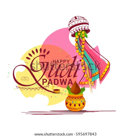 Vector Illustration For Festival Of Gudi Padwa Celebration (Lunar New Year) Background.