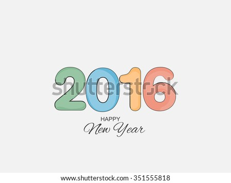 Vector illustration for greeting card for happy new year 2016 with beautiful text effects and background, year of the monkey.
