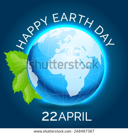 Vector illustration for Happy Earth Day in blue background.