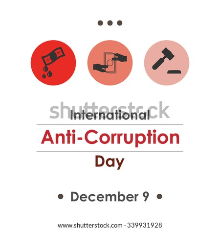Vector illustration for International Anti-Corruption Day with symbolical icons of money, court and bribery - stock vector